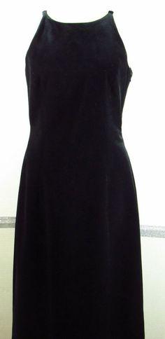 Laundry by Shelli Segal Cocktail Dress Size Small Black Faux Velvet Knee Length  #LaundrybyShelliSegal #haltereveningdress #eveningCocktail