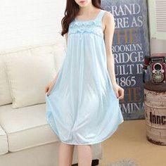 Cute New Ladies Summer Ice Thin Sexy Sleepshirt Women Nightgown