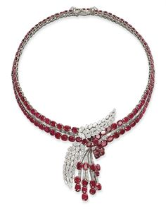 Superb Ruby And Diamond Necklace Mounted In Gold Ad Platinum    c.1950's  -  Christie's