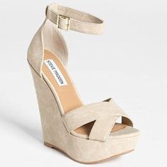 """Steve Madden """"xenon"""" wedges Steve Madden """"xenon"""" style nude wedges. Color is """"bone"""". These are technically an 8.5, but I normally wear an 8 and these are too small. So I would say they are more like a 7.5. Heel is almost 6 inches. These have been worn once. Steve Madden Shoes Wedges"""
