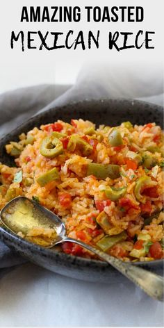This Easy Homemade Mexican Rice, or Spanish Rice, with its bold Mexican flavors, will make your taste buds do a salsa dance. Toasting the rice brings a deep flavor and makes this a special A perfect side dish for your next Mexican dinner Homemade Mexican Rice, Easy Rice Recipes, Mexican Dinner Recipes, Side Dish Recipes, Spanish Recipes, Green Rice Recipe, Mexican Side Dishes, Olive Recipes, Spanish Rice