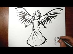 How to draw fallen angels emo angel by sandra loves drawing how to draw a beautiful angel tribal tattoo design style youtube thecheapjerseys Image collections