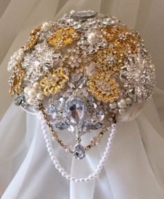 Brooch Bouquet SIlver & Gold Cascading by FabulousBouquets on Etsy, $100.00
