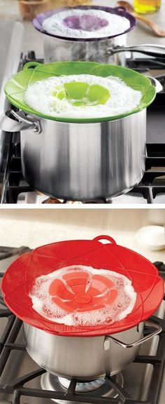 Spill stopper // heat-proof silicone, stops food boiling over, kitchen innovation! Brilliant! #product_design