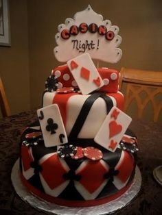 Casino Night! This casino night cake is an 8 inch round for the top tier and a 12 inch round for bottom tier. Top tier is french vanilla with chocolate bavarian cream,