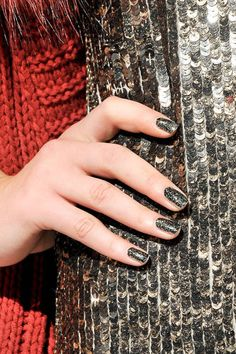 Alice + Olivia's gold flecked nails