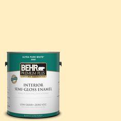 BEHR Premium Plus 1-gal. #380A-2 Moonlit Yellow Zero VOC Semi-Gloss Enamel Interior Paint