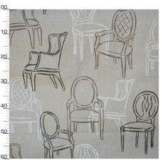 Tissu à motifs fauteuils blanc et noir sur fond beige