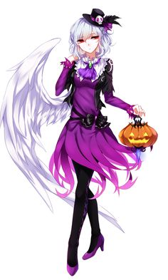 1girl absurdres ascot black_hat black_legwear black_vest dress feathered_wings full_body hair_ornament halloween hat hat_ribbon high_heels highres jack-o'-lantern kishin_sagume lantern long_sleeves mini_hat mini_top_hat pantyhose purple_dress purple_ribbon purple_shoes red_eyes ribbon sheya shoes short_hair single_wing skull_hair_ornament solo top_hat touhou white_hair white_wings wings