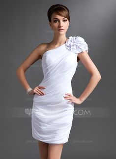 Mother of the Bride Dresses - $118.99 - Sheath One-Shoulder Short/Mini Chiffon Mother of the Bride Dress With Ruffle Flower(s) (008016385) http://jjshouse.com/Sheath-One-Shoulder-Short-Mini-Chiffon-Mother-Of-The-Bride-Dress-With-Ruffle-Flower-S-008016385-g16385?ver=xdegc7h0