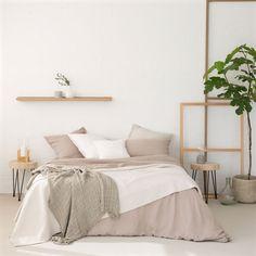 Colcha e capa de almofada algodão relevo diagonal cor natural - Colchas - Cama | Zara Home Portugal