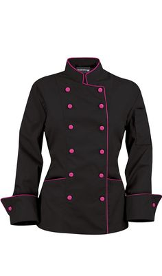 Women's Traditional Chef Coats - Contrast Piping - Fabric Covered Buttons - 100% Cotton $29.99 http://www.chefuniforms.com/chef-coats/womens-chef-coats/womens-piping-chef-coats.asp?frmcolor=hpbla