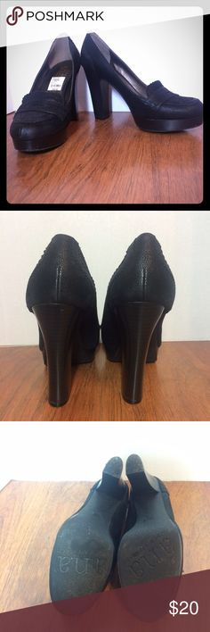 "ANA Black Platform Loafer Pump Chunky heel rocker platform 4 1/2"" heel; 1"" platform Slip-on style pre-loved heels good condition has a couple nicks included picture a.n.a Shoes Platforms"