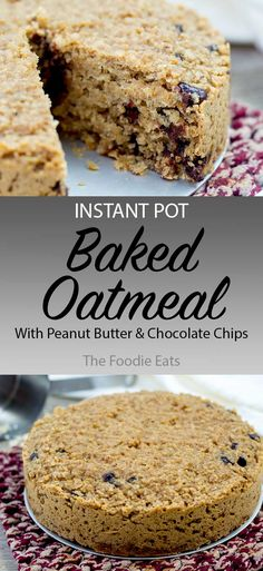 Instant Pot Baked Oatmeal with Peanut Butter & Chocolate Chips This easy Instant Pot Baked Oatmeal with Peanut Butter and Chocolate Chips makes a delicious breakfast the whole family will love! The Foodie Eats Instant Pot, Chocolate Peanut Butter, Chocolate Chips, Keto Oatmeal, Crock Pot Oatmeal, Baked Oats, Egg Recipes For Breakfast, Instant Breakfast Recipe, Breakfast Buffet