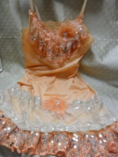 Upcycled peach slip with sequins