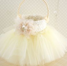 Flower Girl Basket in Ivory and Blush Pink with Lace by SolBijou