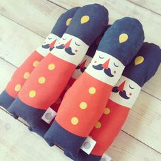 Hand silk screen printed Garry guardsman plush, in lovely tomato orange