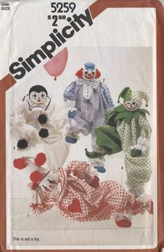 Clown pattern stuffed doll soft scuplture harlequin jester Simplicty 5259 vintag #simplicity