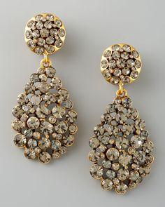 Oscar de la Renta Crystal Teardrop Earrings, Gray