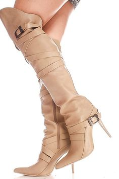 This over the knee boot features multi buckle straps, faux leather material, side zipper, pointed toe look, Length of boot measures about 25 inches, Heel measures about 4 inches.