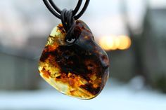 Amber Pendant / Raw Stone Men Necklace / by DreamsFactory on Etsy, $125.00