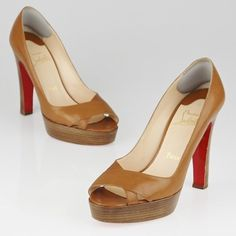 Authentic Christian Louboutin Miss Marple Pumps 100% authentic. From the RealReal so it comes with the RealReal dust bag. No shoebox included. First photo is stock image. Christian Louboutin Brown Leather Miss Marple 120 Pumps include brown leather uppers, a peep toe with cutouts, and a stacked wooden heel. New soles were installed professionally (see photo of brown rubber front). Throughout the leather and the platforms there is light scuffing. Interiors include adhesive heel liners. Inside…