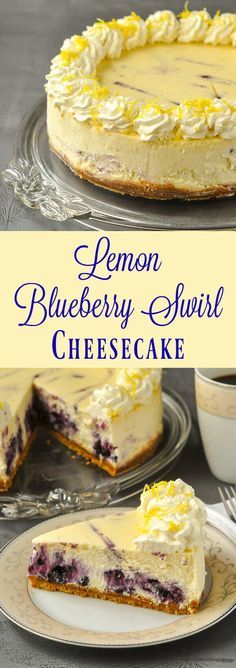 Lemon Blueberry Swirl Cheesecake - two extremely complimentary. Lemon Blueberry Swirl Cheesecake - two extremely complimentary flavours come together deliciously when a blueberry compote gets swirled through a creamy lemon cheesecake. Lemon Desserts, Just Desserts, Delicious Desserts, Dessert Recipes, Yummy Food, Summer Desserts, Make Ahead Desserts, Rock Recipes, Sweet Recipes