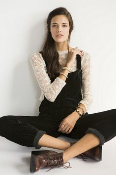 kinda love this!! White lace long sleeve with fitted black velvet overalls!!! i want it