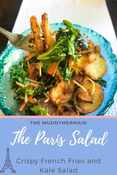 The Paris salad is a crispy french fries and kale salad with slices of garlic fried potatoes. Easy Salads, Summer Salads, Best Salads Ever, Crispy French Fries, Massaged Kale, Steak Salad, Crispy Potatoes, Barefoot Contessa, Shredded Carrot