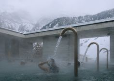 Peter Zumthor's Therme Vals Through the Lens of Fernando Guerra Peter Zumthor, Spas, Thermal Vals, Thermal Hotel, Bath Photography, World Water Day, London Design Festival, Water Element, Beautiful Pools