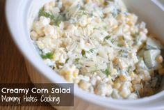Recipe - Creamy Corn Salad - Perfect for a Cookout Side Dish! Cookout Side Dishes, Cookout Food, Fried Corn Recipes, Vegetable Recipes, Potato Dishes, Veggie Dishes, Yummy Appetizers, Veggie Appetizers, Creamy Corn