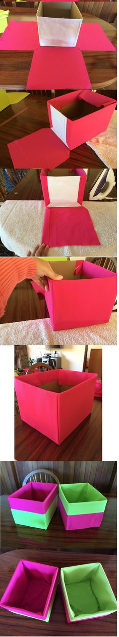 Ideas Craft Paper Storage Diy Projects For 2019 Craft Paper Storage, Cardboard Box Crafts, Diy Storage Boxes, Storage Ideas, Cardboard Playhouse, Fabric Storage Bins, Cube Storage, Fabric Covered Boxes, Fabric Boxes