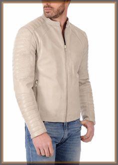 Men's Genuine Lambskin Leather Jacket Off Whit Slim fit Biker Motorcycle jacket Lambskin Leather Jacket, Leather Jackets, Leather Fashion, Mens Fashion, Vogue, Stylish Jackets, Jacket Style, Jacket Men, Motorcycle Jacket
