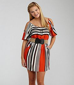 Takara Striped ColdShoulder Dress #Dillards  Homecoming?
