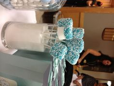 Marshmallow pops for baby boy christening dessert table TheLastBiteNY