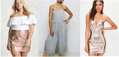 Metallics trend: Rose gold metallic skirt, silver metallic jumpsuit, rose gold metallic strapless dress with sweetheart neckline