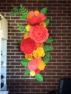 Items similar to Paper Flower Backdrop//Home Decor //Flower Wall //Wedding//Nursery // Birthday //Boutique Decor //Office Decor on Etsy Giant Paper Flowers, Big Flowers, Fabric Flowers, Flower Colors, Paper Flower Wall, Paper Flower Backdrop, Diy Paper, Paper Crafts, Flamingo Party