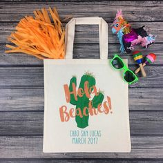 These fun + festive HOLA BEACHES tote bags are off to Mexico! They're the perfect favor for any bachelorette party or wedding in Mexico!!