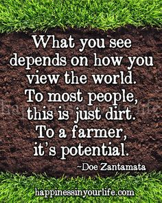Anonymous ART of Revolution: What you see depends on how you view the world to most people this is just dirt to a farmer it's potential Salisbury, Thats The Way, That Way, Great Quotes, Quotes To Live By, Super Quotes, Ag Quote, Farmer Quotes, Motivational Quotes