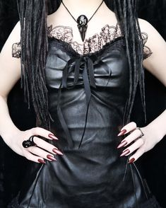 Nevermore Necklace + Ring in Black. Dark beauty Lorena wearing her macabre raven skull necklaces and rings to set off her gothic sorceress outfit. Skull Necklace, Ring Necklace, Black Dark, Black Metal, Quoth The Raven, Gothic Rings, Goth Women, Witch Fashion, Gothic Corset