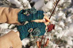 Rose R... Floral Fingerless Gloves on teal by ValerieBaberDesigns