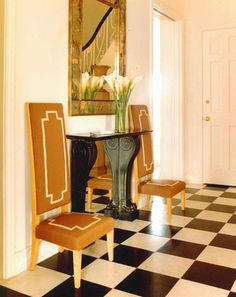 "Stephen Sills Associates: ""In a Miami house, warm and golden walls and bold French furniture of the stand up to the…"" Miami Residence, Golden Wall, Miami Houses, French Furniture, Beautiful Interiors, Entryway Decor, Art Deco, Flooring, 1940s"