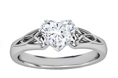 Heart Diamond Triquetra Celtic Engagement Ring in White Gold