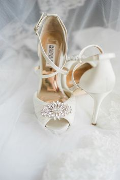 Truong and Nguyen's Chic California Wedding by Tugether Photography | Classic white bridal shoes - white Badgley Mischka wedding shoes with a crystal embellishment.