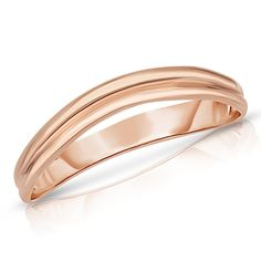 Comfort Fit Curved Double Wave Thumb Ring (3mm) - 10k Pink Gold - Size 8. Classic dainty unique shaped ring. Fine quality 10k gold. Very comfortable - Stacks well with other rings. Comes nicely packaged - Makes a great gift!. Images are enlarged for better view and are not actual size. Refer below to the product specifications column for more accurate item dimensions.