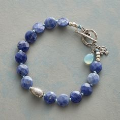 """DENIM DOT BRACELET--Faceted dots of denim colored sodalite accompany sterling silver and blue agate accents, the strand knotted on chambray silk. Handcrafted exclusively for Sundance with toggle clasp. 7-1/4""""L."""