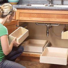 Kitchen Cabinet Storage Solutions: DIY Pull Out Shelves Kitchen Sink Storage, Kitchen Organization, Cabinet Storage, Kitchen Sinks, Kitchen Cabinets, Cabinet Drawers, Cabinet Ideas, Kitchen Drawers, Kitchen Storage Solutions