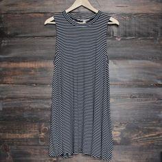 BSIC - boho striped womens t shirt tank mini dress - black - shophearts - 1