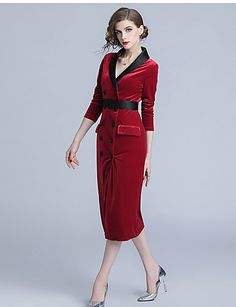 cb939e350a2 Sheath   Column V Wire Tea Length Velvet Formal Evening Dress with Sash    Ribbon by LAN TING Express