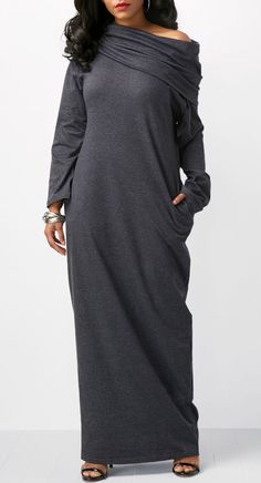 Pocket Long Sleeve Skew Neck Maxi Dress.